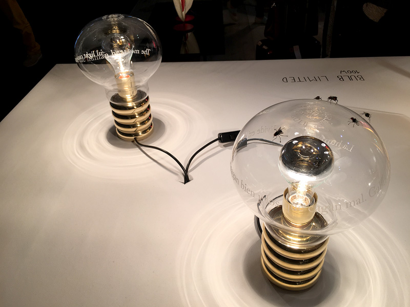 Ingo Maurer limited edition 50th anniversary Bulb 12 of which embellished with Graham Owen flies