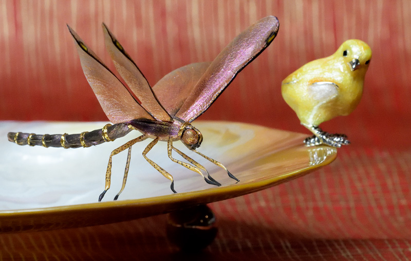 Insect Art - purple and gold dragonfly – handmade replica