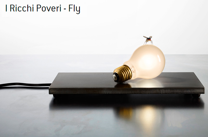 I Ricchi Poveri Fly Ingo Maurer table lamp with a replica fly made by Graham Owen