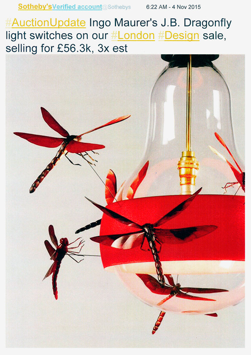 Sotheby's Design Sale JB Dragonfly lamp