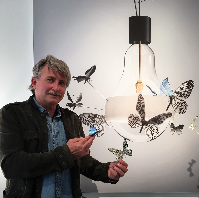 Graham Owen with Flatterby butterflies