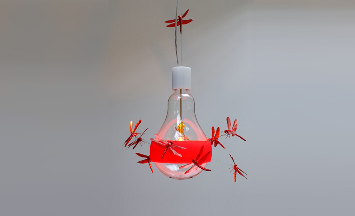 Ingo Maurer Red Dragonfly lamp
