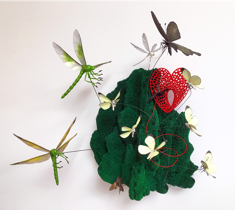 insect art sculpture with butterflies dragonflies and a moth