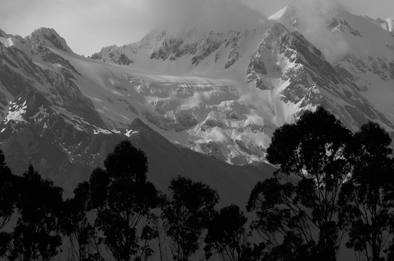 New Zealand south island Alps close up telephoto with snowy peaks