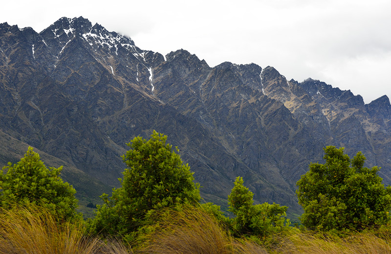 view from the grocery store parking lot in Queenstown New Zealand