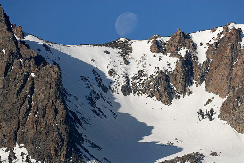 High Sierra mountain top and moon