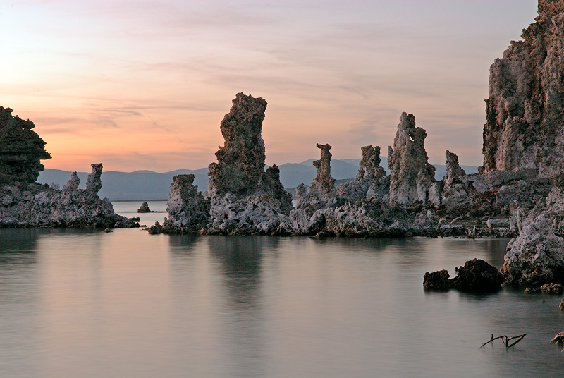 Mono Lake California tufa formations at viewed at sunset