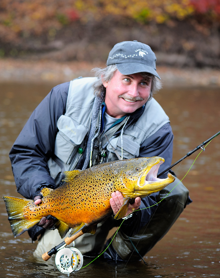 Graham Owen with a huge male brown trout