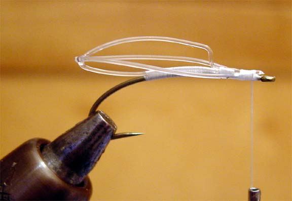 tying a mono frame onto a hook