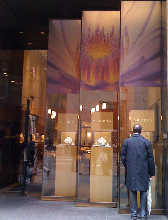 Mikimoto Pearls Manhattan New York, spring window displays