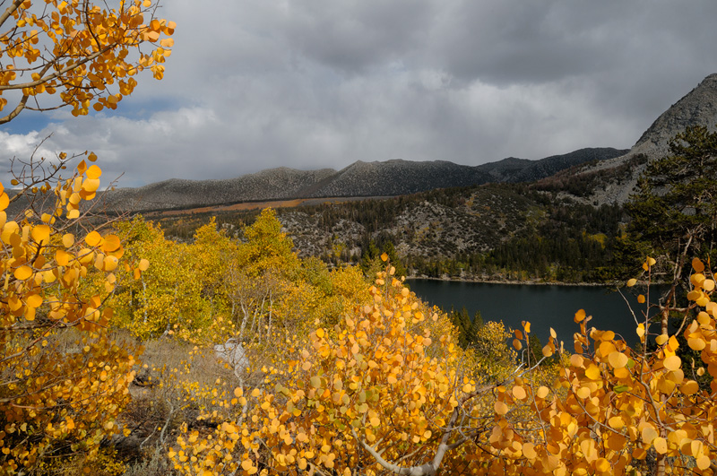 High Sierra lake surrounded with fall color